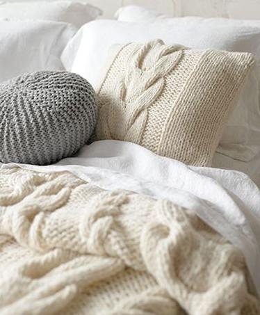 couverture douillette laine tricotée