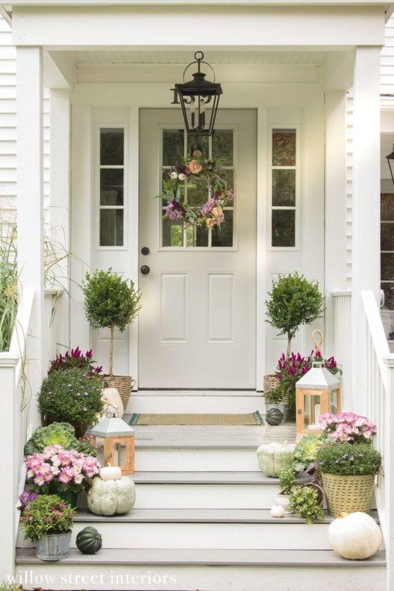 porte entrée avec plantes